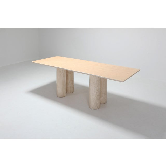Contemporary Travertine Dining Table by Mario Bellini 'Il Colonnato' For Sale - Image 3 of 11