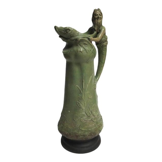 """Art Nouveau Ceramic """"Merman"""" Pitcher For Sale"""