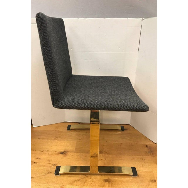 Mid-Century Modern Set of Giovanni Offredi Saporiti Italia Brass Dining Chairs Mid-Century Modern For Sale - Image 3 of 7
