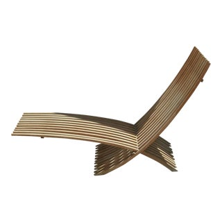 "Nils Ole Zib Style ""Nozib Sun Lounger"" Scandinavian Design Minimalist Modern Style Indoor Outdoor Teak Slat Chaise Lounge For Sale"