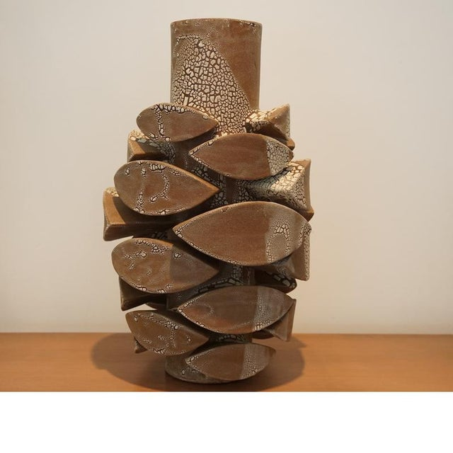 This listing is for a contemporary white crackle totem. Artist: Titia Estes Clay: Brown Glaze: Interior Clear, Exterior...