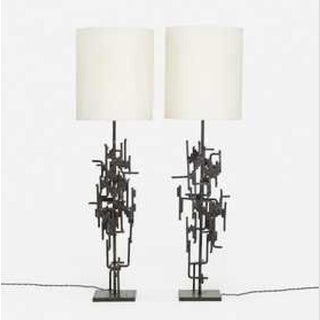 Pair of Floor Lamps in Wrought Iron Circa 1965 by Marcello Fantoni Preview