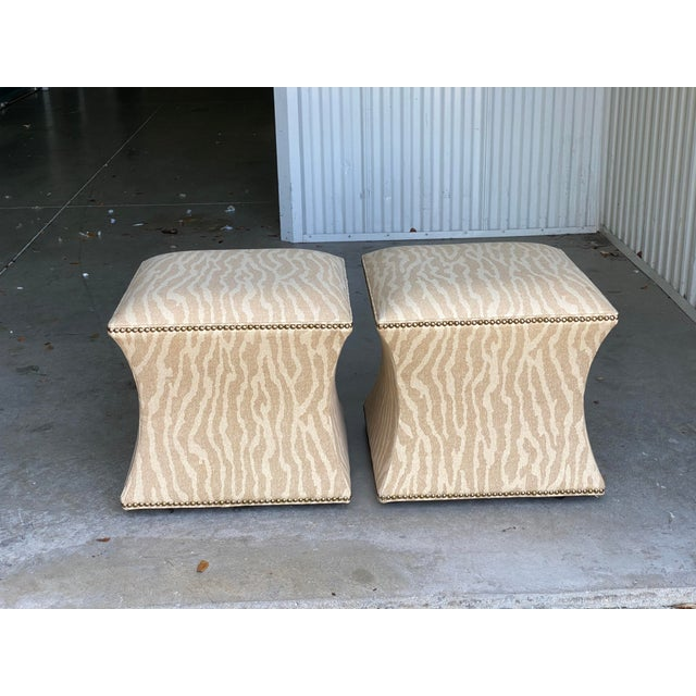 Late 20th Century Vintage Contemporary Leopard Ottoman - a Pair For Sale - Image 5 of 6