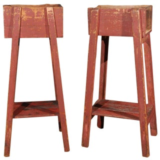 French Country Red Painted Wooden Planters on Long Splayed Legs - a Pair For Sale