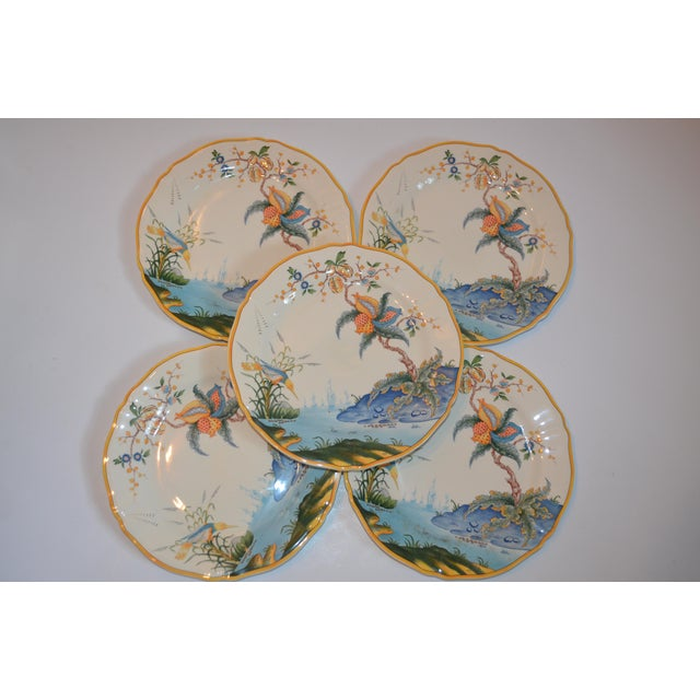 White Vintage French Gien Plates in Caraibes Pattern - Set of 5 For Sale - Image 8 of 9