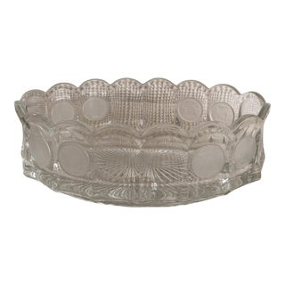 Scalloped Medallions Glass Bowl For Sale