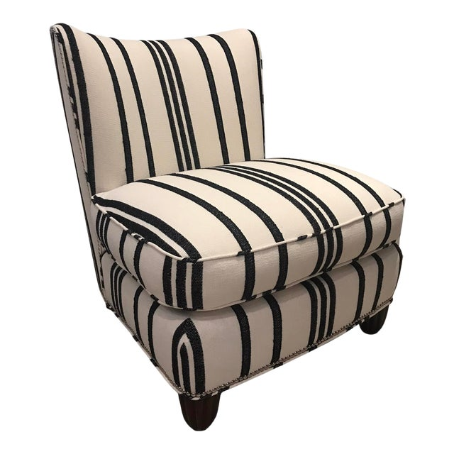 Barbara Barry Armless Chair with Schumacher Stripe Fabric For Sale