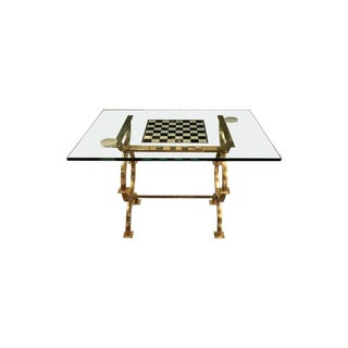 1960s Mid-Century Modern Glass and Brass Game Table For Sale