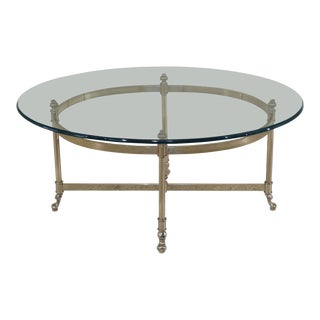 1990s Traditional LaBarge Brass & Glass Coffee Table For Sale