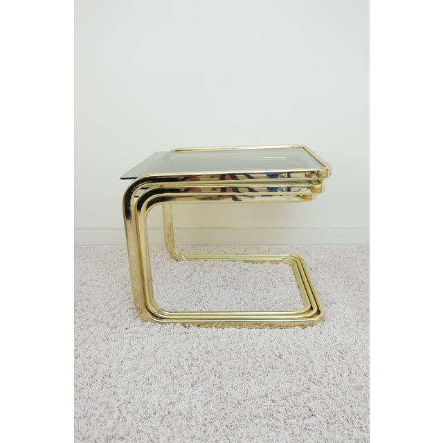 Glass 1970s Mid Century Modern Gold Steel Nesting Tables - Set of 3 For Sale - Image 7 of 9