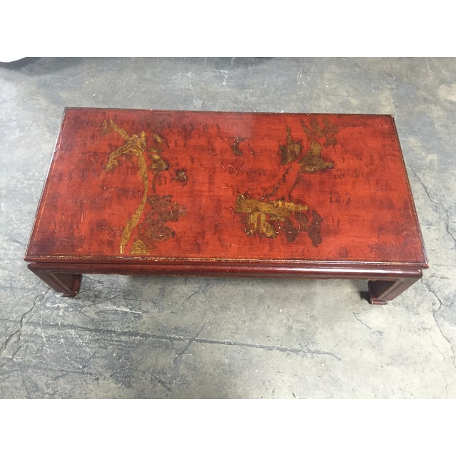 Mid-Century Red Lacquer Chinese Style Coffee Table - Image 2 of 7