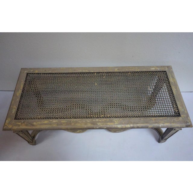 Early 20th Century Antique French Painted Caned Bench With Vintage Patchwork Cushion For Sale - Image 5 of 11