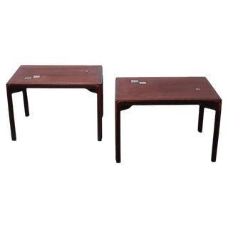 Pair of Edward Wormley for Dunbar Tables with Natzler Tiles For Sale