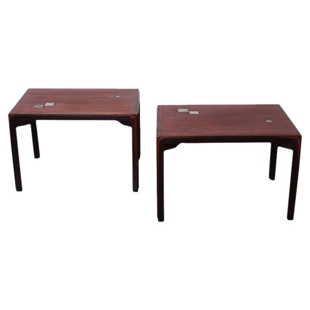 Pair of Edward Wormley for Dunbar Tables with Natzler Tiles - Image 1 of 10