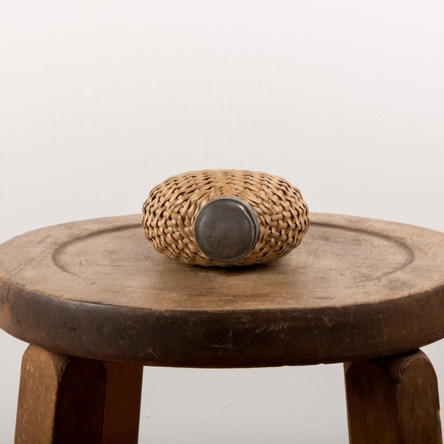 1920s 1920 European Wicker Woven Covered Glass Bottle For Sale - Image 5 of 7