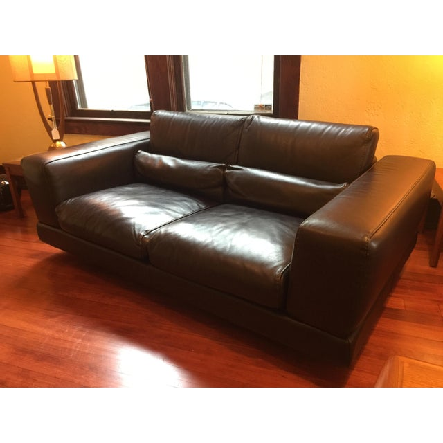 Roche Bobois Low Profile Leather Loveseat - Image 6 of 11