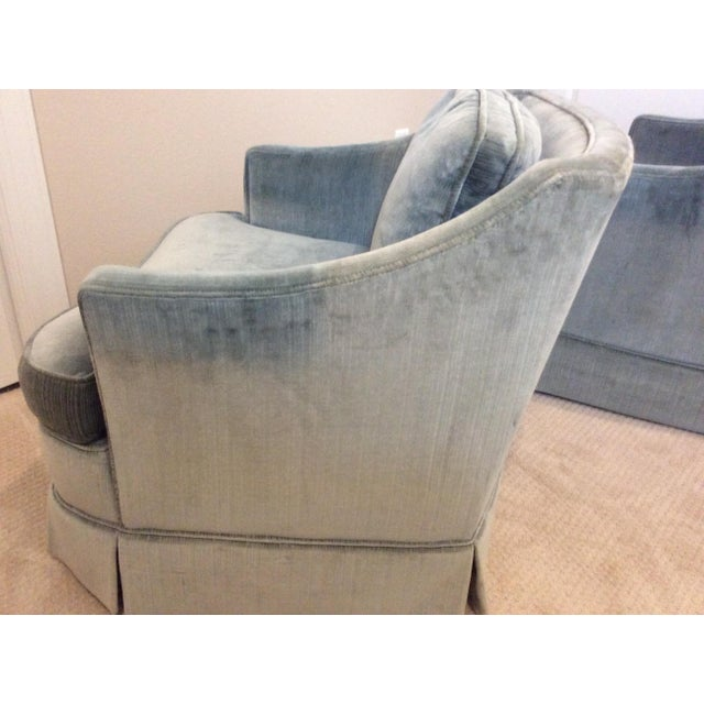 Vintage 1970s Drexel Heritage lounge armchairs in stone blue rich velour fabric. In excellent condition, no stains or...
