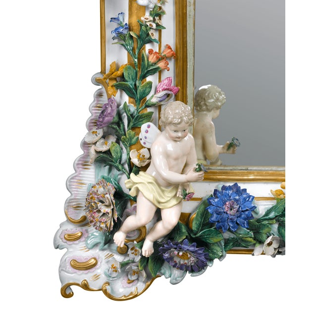 Gold MEISSEN PORCELAIN ROCOCO MIRROR For Sale - Image 8 of 10