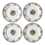 Image of Keramis Boch Freres Belgium Art Deco Floral Painted Plates - Set of 4 For Sale