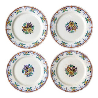 Keramis Boch Freres Belgium Art Deco Floral Painted Plates - Set of 4 For Sale