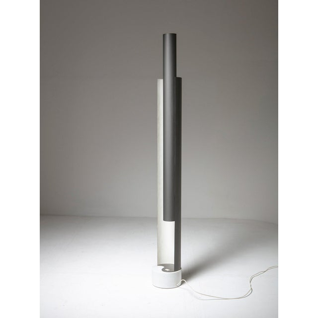 Floor lamp by Pia Guidetti Crippa for Lumi. Aluminum shade hides four light bulbs distributed along the height. White...