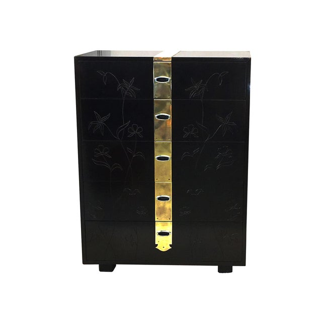 Max Kuehne Style Floral Incised Tall Chest of Drawers For Sale In Boston - Image 6 of 6