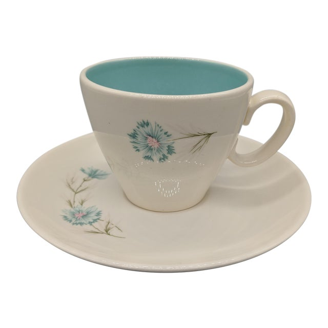 "Mid-Century Taylor Smith & Taylor ""Boutonniere"" Teacup and Saucer, Cream With Turquoise Interior - a Set For Sale"