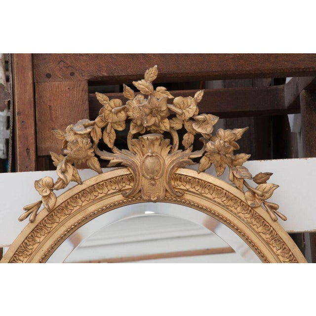 Gold French 19th Century Oval Gold Gilt Mirror For Sale - Image 8 of 10