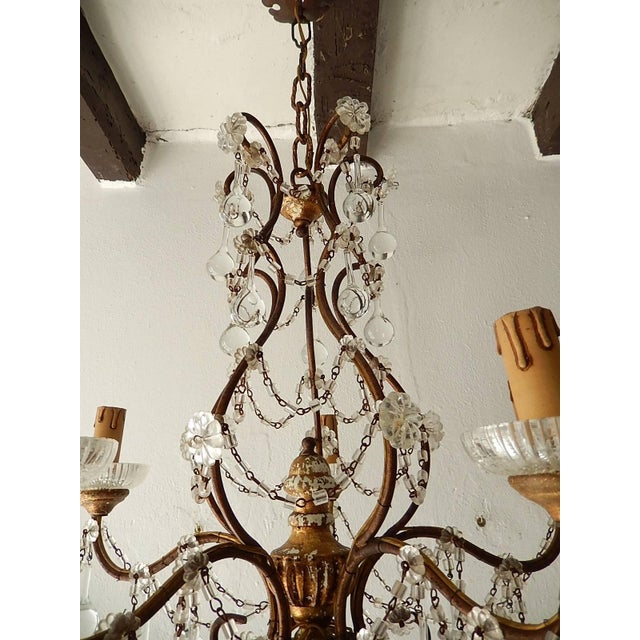 Baroque French Baroque Crystal Prisms Swags Old Chandelier For Sale - Image 3 of 11