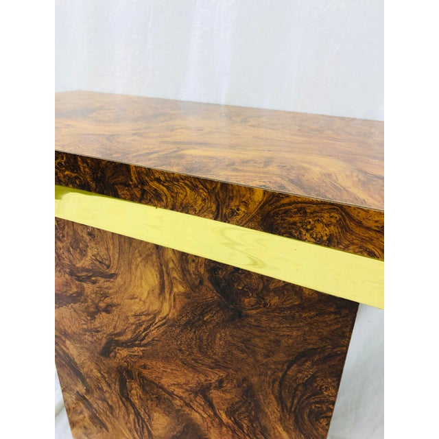 Gold Vintage Modern Burl & Brass Table For Sale - Image 8 of 12