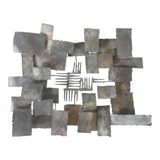 Mid-Century Modern Brutalist Torch Cut Iron Wall Sculpture For Sale