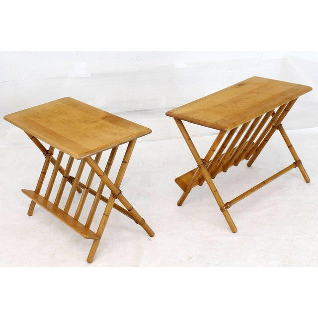Pair of Faux Burnt Bamboo X-Base Rectangular Side End Tables With Magazine Rack For Sale - Image 9 of 12