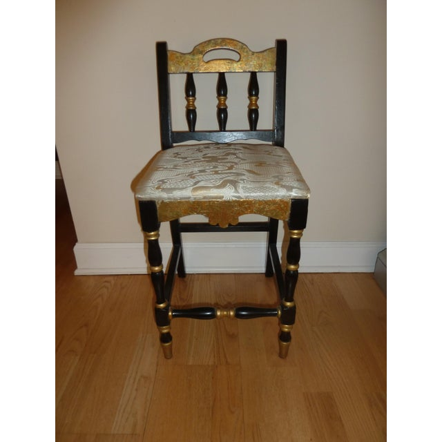 Gold 1920s French Country Ebony and Gold Leaf Secretary Desk and Chair. For Sale - Image 8 of 9
