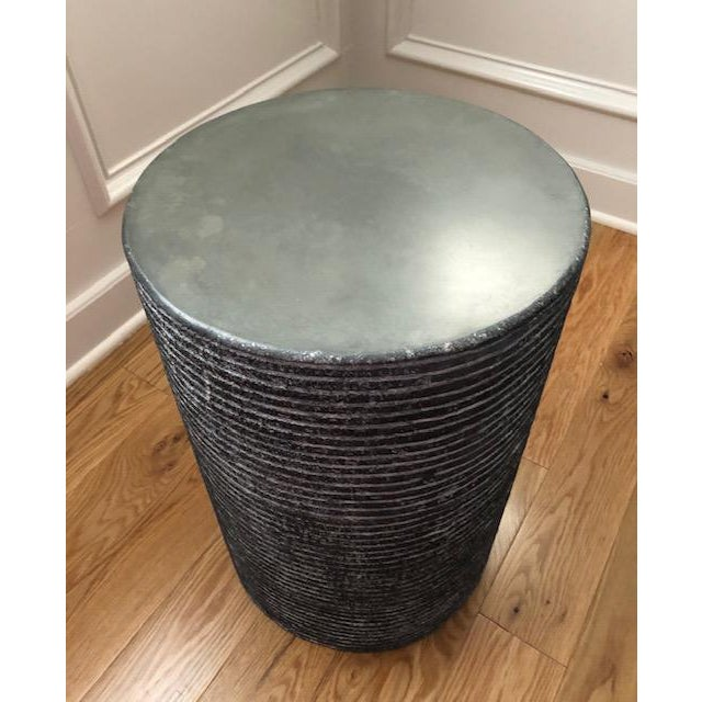 Contemporary Organic Modern Round Cerused Accent Table For Sale - Image 3 of 4