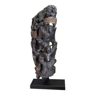 Antique Chinese Carved Wood Guardian Sculpture For Sale