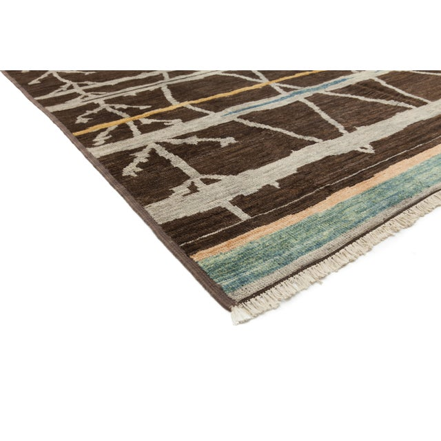 """Contemporary Moroccan Hand-Knotted Rug - 7' 9"""" x 9' 8"""" - Image 2 of 3"""