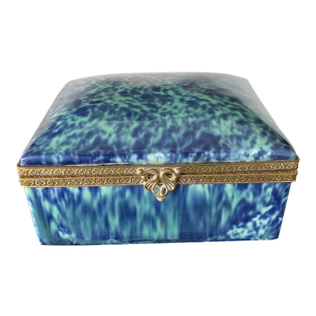 Vintage Blue Fine China Box With Gold Trim For Sale