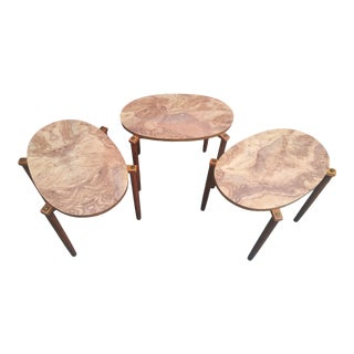 Mid Century Modern Faux Burlwood Stacking Side Tables - a Set For Sale