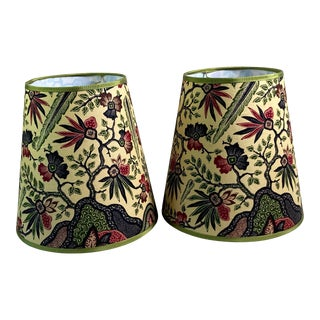 Vintage Batik Fabric Covered Lamp Shades - a Pair For Sale