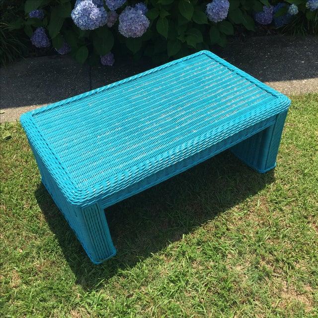 Caribbean Blue Indoor-Outdoor Wicker Coffee Table - Image 3 of 7