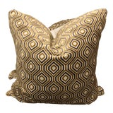 """Image of Gold/Taupe Geometric Cut Velvet 22"""" Pillows-A Pair For Sale"""