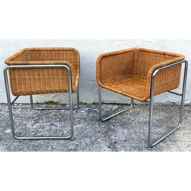 Large pair of 1970s chrome and rattan cube club chairs, great size and color, architectural chrome frames, sturdy chairs....