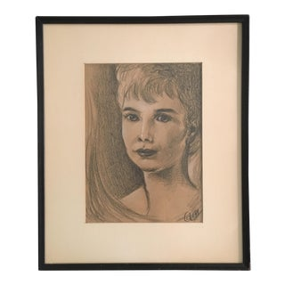 Original Lady Portrait Charcoal Drawing For Sale