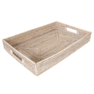 Artifacts Rattan Rectangular Tray Cutout Handles For Sale