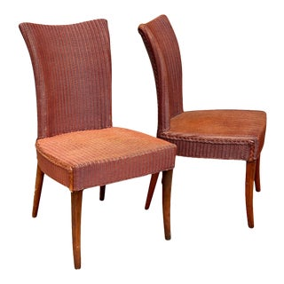 Vintage Wicker Sculpted Wing Back Club Chairs W/ Walnut Legs - a Pair For Sale