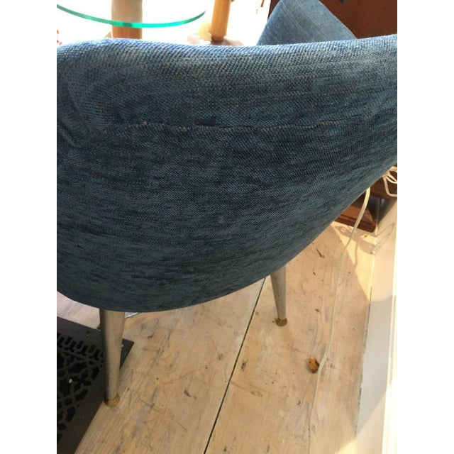 Metal Mid-Century Modern Blue Silk Linen Chairs With Chrome Base and Legs - a Pair For Sale - Image 7 of 10