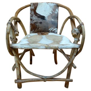 Rustic Mexican Cowhide & Bentwood Chair For Sale