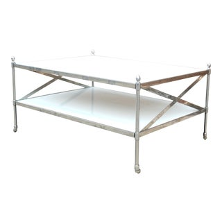 Chrome Cocktail Table With Pearl Glass and Casters For Sale