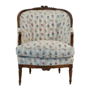 1880s French Fruitwood Louis XVI Style Bergere Chair For Sale