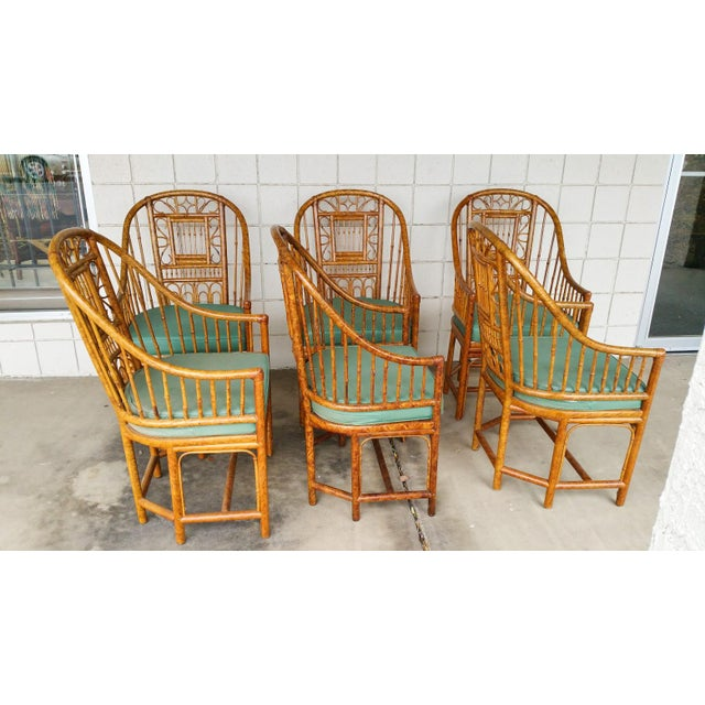 Hollywood Regency Brighton Bamboo Chair- Set of 6 - Image 9 of 9